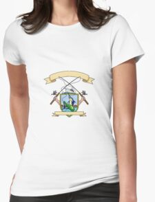 Fishing Rod Reel Blue Marlin Fish Beer Bottle Coat of Arms Drawing Womens Fitted T-Shirt
