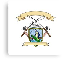 Fishing Rod Reel Blue Marlin Fish Beer Bottle Coat of Arms Drawing Canvas Print