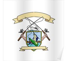 Fishing Rod Reel Blue Marlin Fish Beer Bottle Coat of Arms Drawing Poster