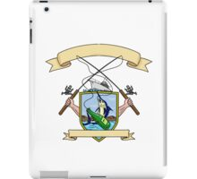 Fishing Rod Reel Blue Marlin Fish Beer Bottle Coat of Arms Drawing iPad Case/Skin