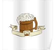 Medieval Beer Mug Foam Drawing Poster