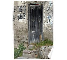 Gray Wooden Door With Stone Steps Poster