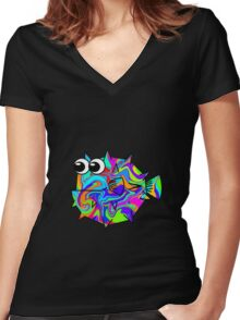 Colorful Pufferfish Women's Fitted V-Neck T-Shirt
