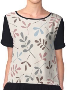 Assorted Leaf Silhouettes Pastel Colors Chiffon Top