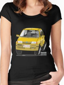 Fiat Cinquecento Sporting caricature Women's Fitted Scoop T-Shirt