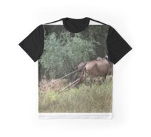 Teamwork. Horses and minder ploughing field Graphic T-Shirt