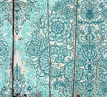 Teal & Aqua Botanical Doodle on Weathered Wood by micklyn