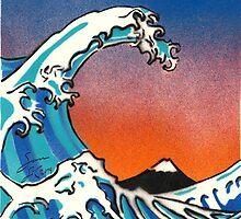 Great Wave Stencil Art by Sam Simpson-Crew