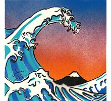 Great Wave Stencil Art Photographic Print