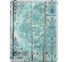 Teal & Aqua Botanical Doodle on Weathered Wood iPad Case/Skin