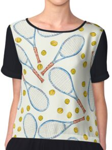 pattern with tennis rackets with tennis balls Chiffon Top