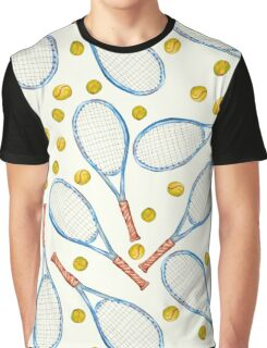 pattern with tennis rackets with tennis balls Graphic T-Shirt