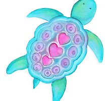 Whimsical turtle watercolor kids art by Sarah Trett