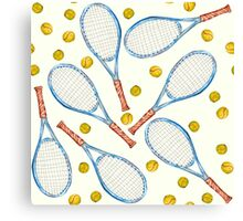 pattern with tennis rackets with tennis balls Canvas Print
