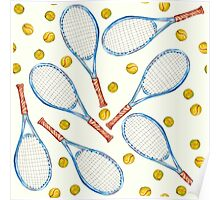 pattern with tennis rackets with tennis balls Poster