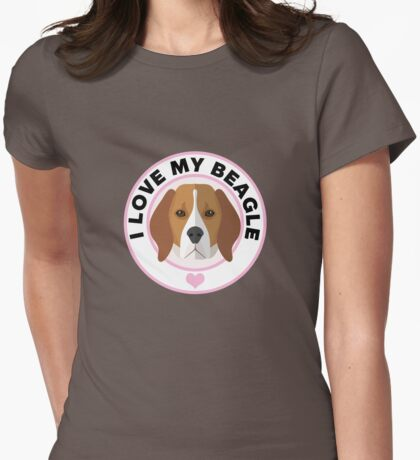 Love My Beagle Dog Womens Fitted T-Shirt