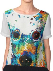 Colorful Poodle Dog Art by Sharon Cummings Chiffon Top