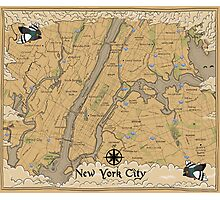 Map of New York - Tolkien Inspired Photographic Print