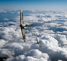 Spitfires turning in by Gary Eason + Flight Artworks