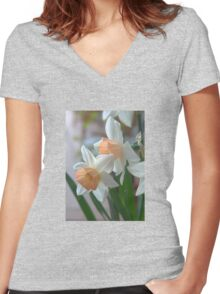 Delicate Daffodils  Women's Fitted V-Neck T-Shirt