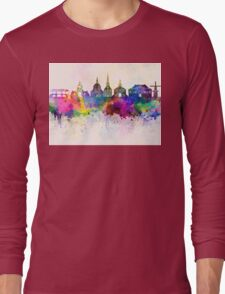 Leiden skyline in watercolor background Long Sleeve T-Shirt