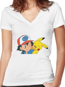 Ash and Pikachu Women's Fitted V-Neck T-Shirt