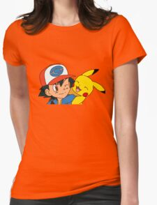 Ash and Pikachu Womens Fitted T-Shirt