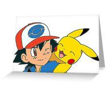 Ash and Pikachu Greeting Card