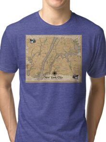 Map of New York - Tolkien Inspired Tri-blend T-Shirt