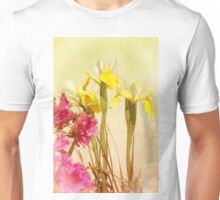 Yellow And White Iris And Pink Azalea Unisex T-Shirt