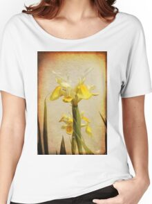 Yellow and White Iris textured Women's Relaxed Fit T-Shirt