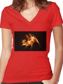 Autumn Leaf Women's Fitted V-Neck T-Shirt