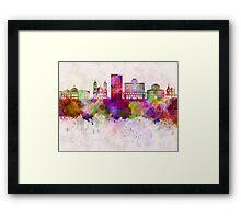 Phoenix skyline in watercolor background Framed Print