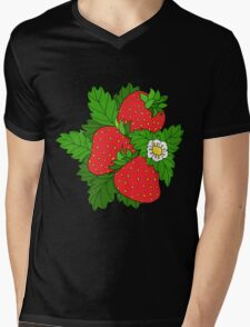 Ripe juicy strawberries Mens V-Neck T-Shirt