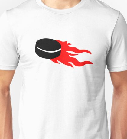Hockey puck fire Unisex T-Shirt