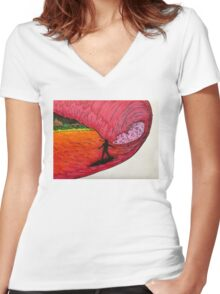 Surfing on Mars Women's Fitted V-Neck T-Shirt