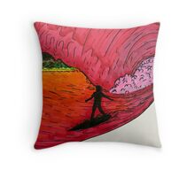 Surfing on Mars Throw Pillow
