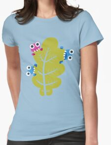 Cute Bugs Eat Green Leaf Womens Fitted T-Shirt