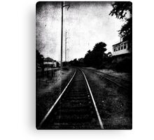 walking the tracks in rural MA.  Canvas Print