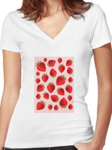 Red and pink strawberry pattern Women's Fitted V-Neck T-Shirt