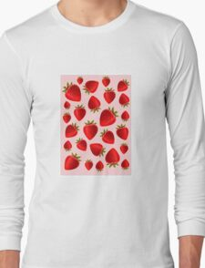 Red and pink strawberry pattern Long Sleeve T-Shirt