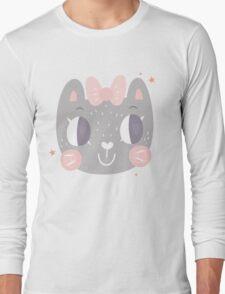 Girls Kitty Face Design Long Sleeve T-Shirt