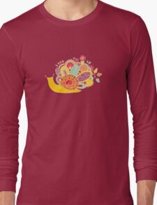 Cute Snail with Flowers & Swirls in Bright Colours Long Sleeve T-Shirt