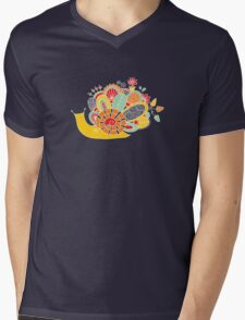 Cute Snail with Flowers & Swirls in Bright Colours Mens V-Neck T-Shirt