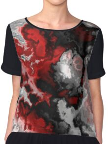 Black red gray and white abstract 2 Chiffon Top