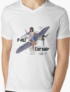 F4U Pin Up Art 2 Mens V-Neck T-Shirt