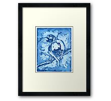 Bird on a Wire (Blue) Framed Print