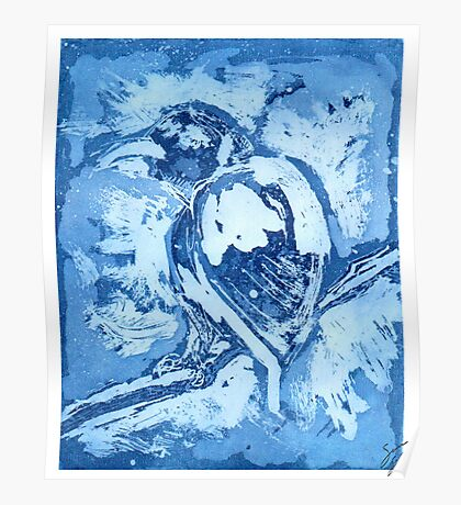 Bird on a Wire (Blue) Poster