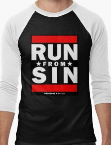 RUN FROM SIN- LDStreetwear Men's Baseball ¾ T-Shirt