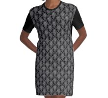 Black and Grey Old Victorian Pattern Design Texture Graphic T-Shirt Dress